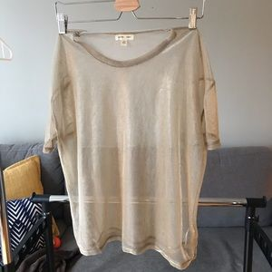 Silence+Noise Gold Sheer Top